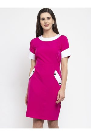 Karmic Vision Women Fuchsia Pink & White Colourblocked Sheath Dress