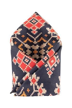 The Tie Hub Men Navy Blue & Red Printed Pocket Square