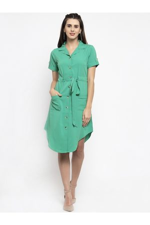Karmic Vision Women Green Solid Shirt Dress
