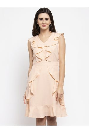Karmic Vision Women Beige Solid A-Line Dress