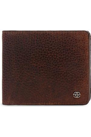 Eske Men Brown Leather Textured Two Fold Wallet