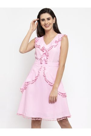 Karmic Vision Women Pink Solid Fit and Flare Dress