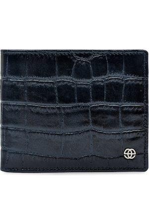 Eske Men Navy Blue Solid Two Fold Leather Wallet