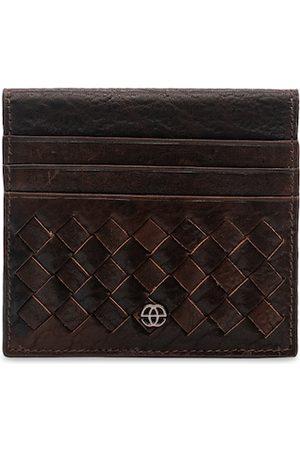 Eske Men Brown Woven Design Leather Card Holder