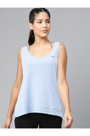 Reebok Women Blue Supply Activchill + Cotton Solid Styled Back Top