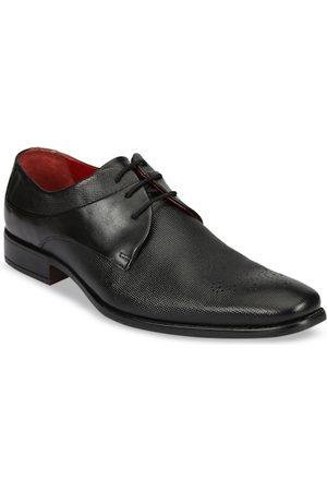 Ruosh Men Black Leather Derbys