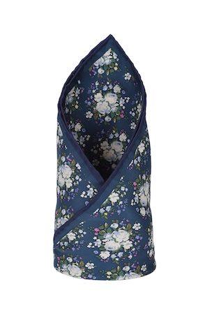 Louis Philippe Men Blue Printed Silk Pocket Square