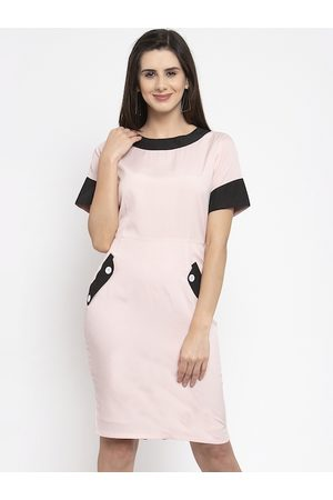 Karmic Vision Women Pink Solid Sheath Dress