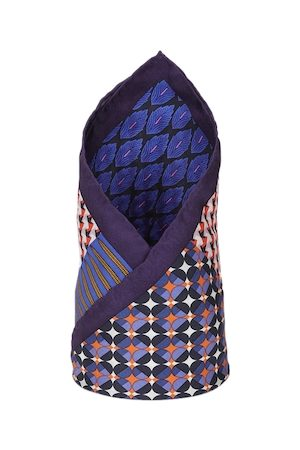 Louis Philippe Men Blue & Red Printed Pocket Square