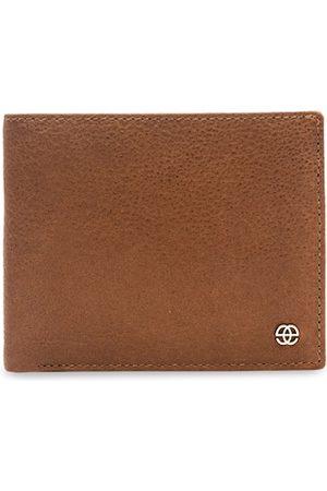 Eske Men Tan Brown Leather Textured Two Fold Wallet