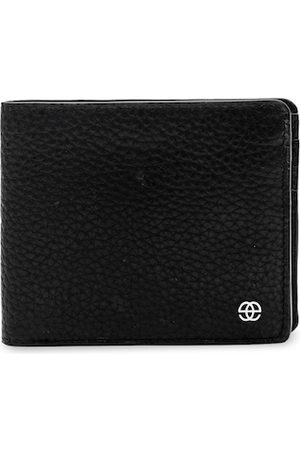 Eske Men Black Leather Textured Two Fold Wallet