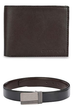 Calvadoss Men Black & Brown Leather Accessory Gift Set