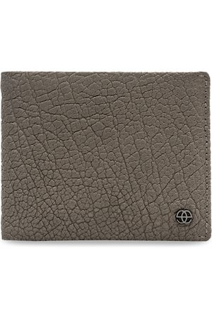 Eske Men Taupe Leather Textured Two Fold Wallet