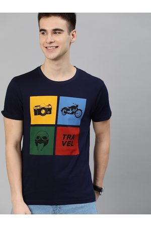 HERE&NOW Men Navy Blue Printed Round Neck T-shirt