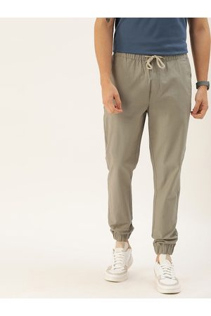 Ether Men Grey Regular Fit Solid Linen Joggers