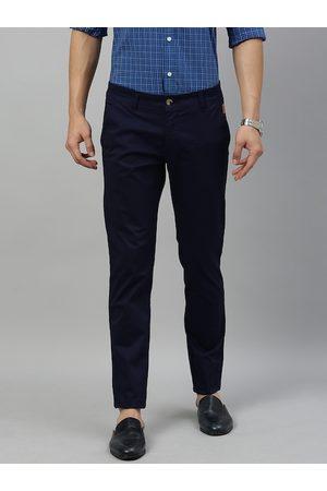 Urbano Fashion Men Navy Blue Slim Fit Solid Chinos