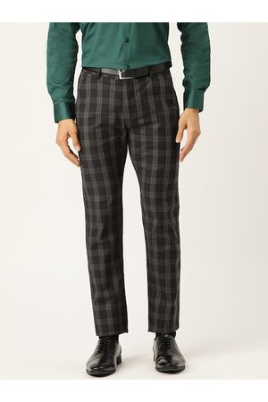 HANCOCK Men Charcoal Grey Slim Fit Checked Formal Trousers