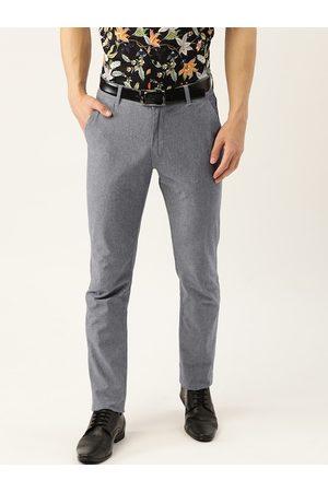 HANCOCK Men Grey Melange Slim Fit Solid Formal Trousers