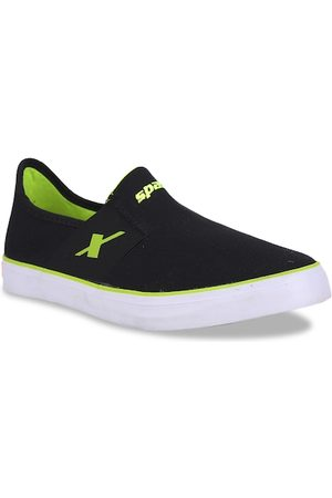Sparx Men Black & Fluorescent Green SM-214 Slip-On Sneakers