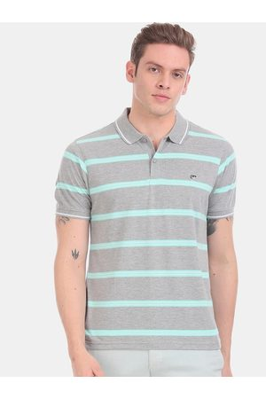 Ruggers Men Grey & Turquoise Blue Striped Polo Collar T-shirt