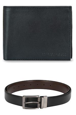 Calvadoss Men Black & Brown Leather Belt & Wallet Accessory Gift Set