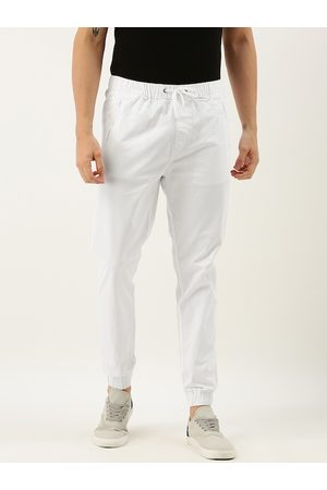 Ether Men White Regular Fit Solid Joggers