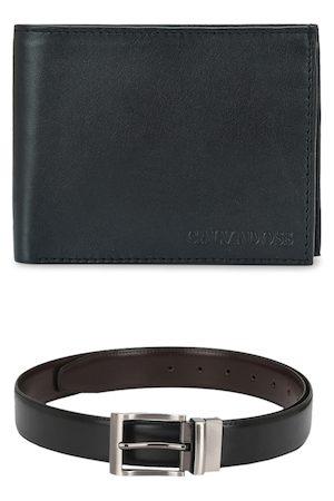 Calvadoss Men Black & Brown Accessory Gift Set