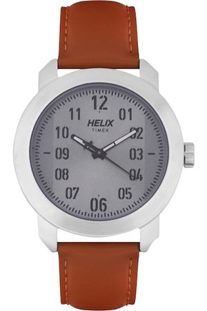 Helix Men Grey & Brown Analogue Watch TW036HG00