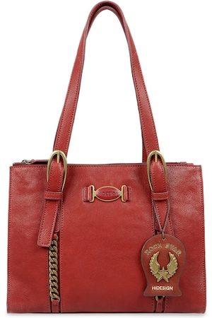 Hidesign Red Textured Leather Shoulder Bag