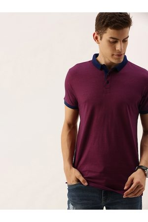 Ether Men Maroon & Navy Blue Striped Polo Collar T-shirt