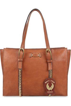 Hidesign Women Tan Brown Textured Leather Laptop Bag