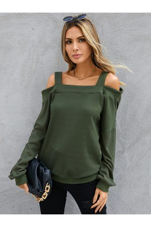 YOINS Army Green Off The Shoulder Long Sleeves Knit Top