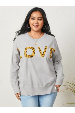 YOINS Plus Size Letter Long Sleeves Sweater