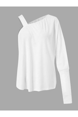 YOINS Ribbed Knit One Shoulder Long Sleeves Knit Top