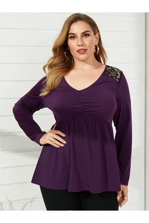 YOINS Plus Size V-neck Patchwork Pleated Design Long Sleeves Tee