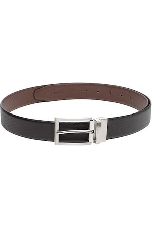 WELBAWT Men Black & Brown Reversible Leather Textured Belt