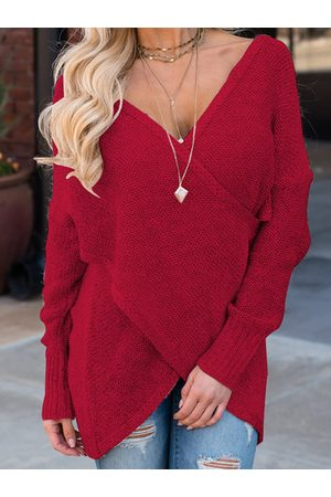 YOINS Crossed Front V-neck Long Sleeves Sweater