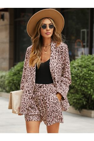 YOINS Leopard Lapel Collar Long Sleeves Two Piece Outfit