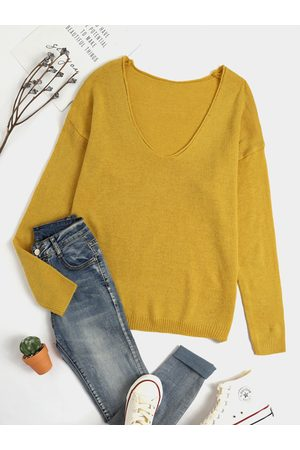 YOINS Casual Yellow V-neck Long sleeves Sweater