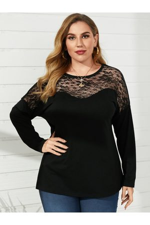YOINS Plus Size Crew Neck Lace Patchwork Long Sleeves Tee