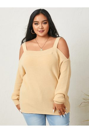 YOINS Plus Size Cold Shoulder Long Sleeves Sweater