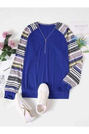 YOINS Striped Patchwork Zip Front V-neck Long Sleeves Knit Top