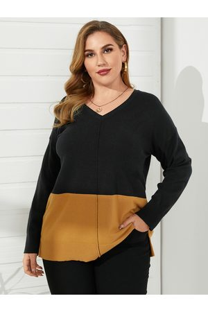 YOINS Plus Size V-neck Patchwork Long Sleeves Sweater