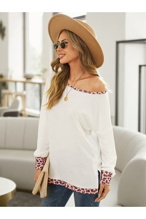 YOINS Patchwork Leopard Round Neck Long Seeves Tee