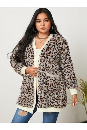 YOINS Plus Size Leopard Two Large Pockets Long Sleeves Cardigan