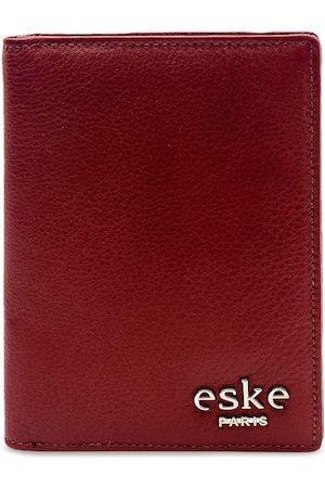 Eske Men Maroon Textured Genuine Leather Passport Holder