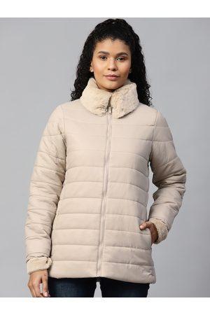 Chemistry Women Beige Solid Padded Jacket