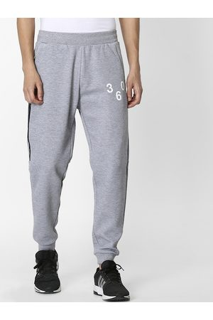 Celio Men Grey Melange Solid Straight-Fit Joggers