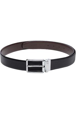 adidas Men Black & Brown Textured Reversible Leather Belt