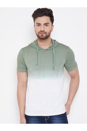 GRITSTONES Men White Colourblocked Hood T-shirt